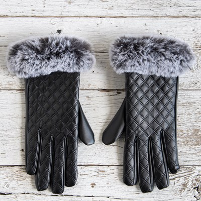Faux Leather Faux Fur Gloves