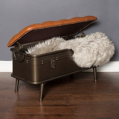 Tufted Faux Leather Metal Storage Bench