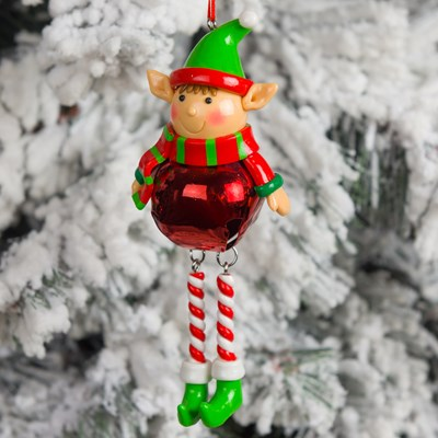 claydough elf with red bell body ornament - Animated Christmas Elves Decorations