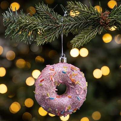 Glitter Doughnut with Pink Icing Ornament