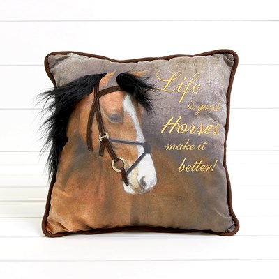 Life is Good Horse Pillow