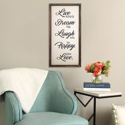 """Live, Dream, Laugh, Happy, Love"" Wall Decor"