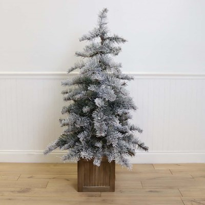 4.5ft Prelit Flocked and Glittered Pine Tree
