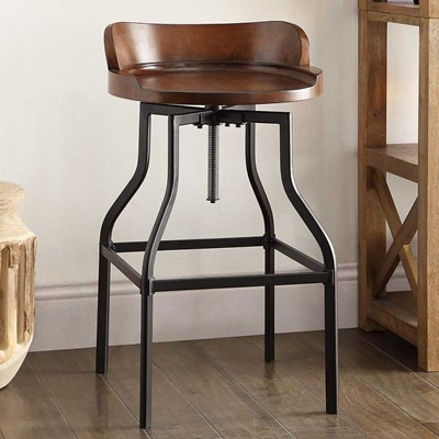 Barrel-Back Adjustable Height Stool