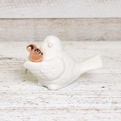 Ceramic Bird with Baby Figurine
