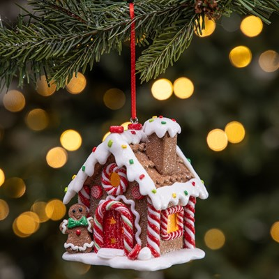 LED Claydough Gingerbread House Ornament