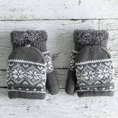 Gray Convertible Mittens