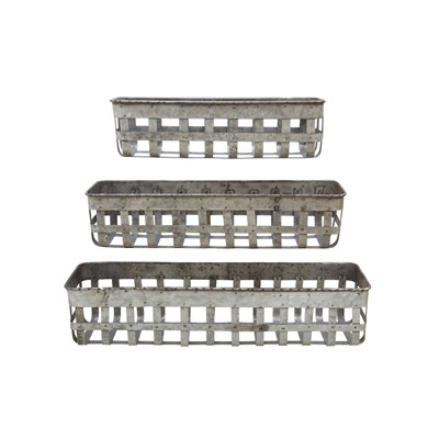 Iron Open Weave Baskets - Set of 3