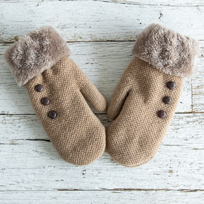 3-Button Brown Mittens