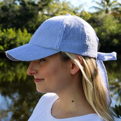Striped Bow Baseball Hat
