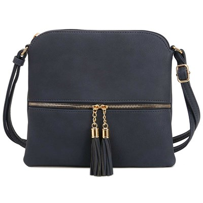 Navy Tassel Flat Crossbody Purse