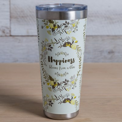 """Happiness Blooms from Within"" Tumbler - 32 Oz."