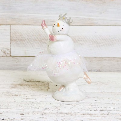 Dancing Snowman with Pink Gloves Figurine