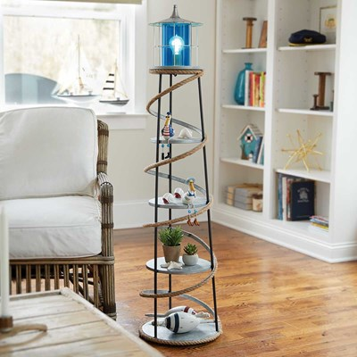 Metal Lighthouse Floor Lamp with Shelves