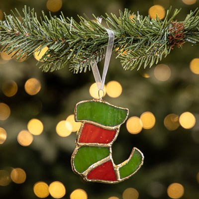 Stained Glass Elf Shoe Ornament