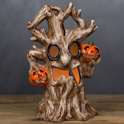 light up ceramic haunted tree