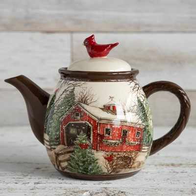 Stoneware Snowy Covered Bridge Teapot