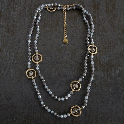 Gray Bead with Gold Circle Necklace
