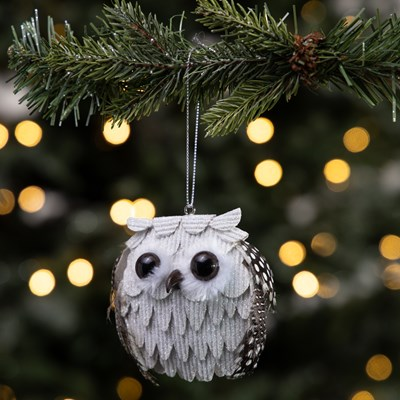 White Glitter Feathered Owl Ornament