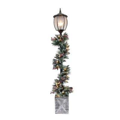 Pre-Lit 7' Lamp Post with Decorated Garland
