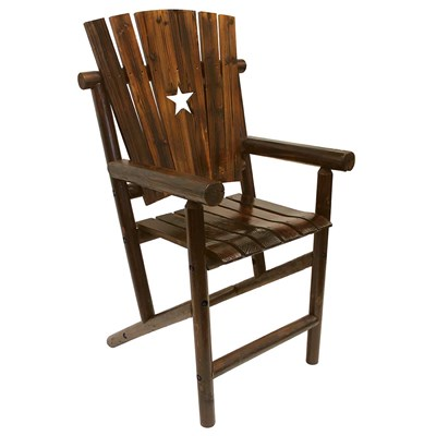 Char-Log Wooden Star Bar Chair