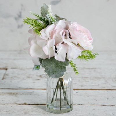 Faux Rose and Hydrangea in Glass Vase