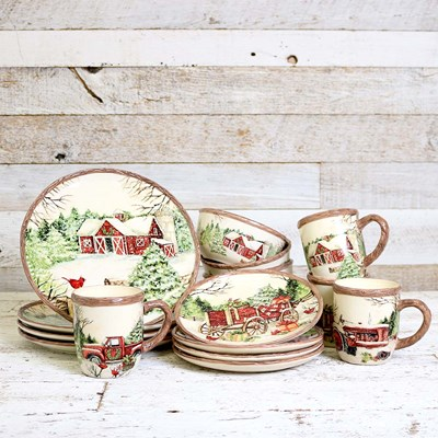 16 Piece Winter Scene Stoneware Dinnerware Set