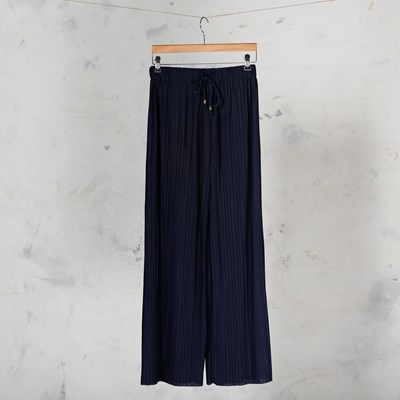 Pleated Navy Pull on Pant