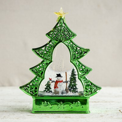 Christmas Tree with Snowman Glitter Globe