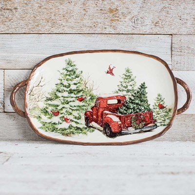 Stoneware Snowy Red Truck Oval Platter