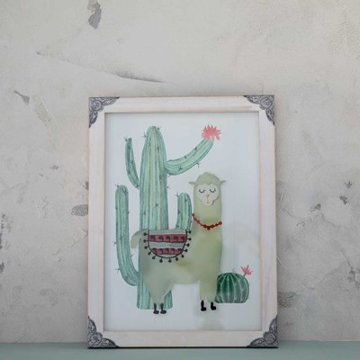 Llama and Cactus Framed Wall Decor