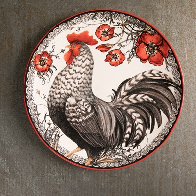 Black Rooster Salad Plate - Left Facing