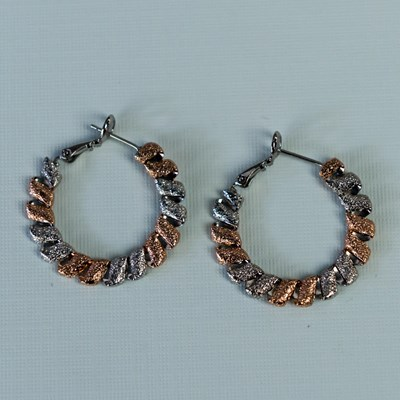 Two-Tone Hammer Hoop Earrings