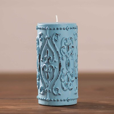 "Light Blue Embossed Pillar Candle - 3"" x 6"""