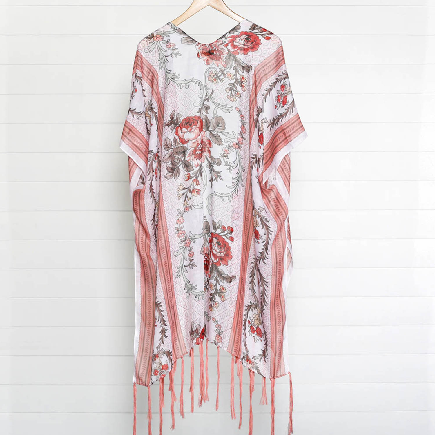 Navy Floral And Flamingo Knitted Kimono