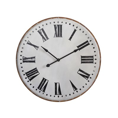 White Round Metal Wall Clock