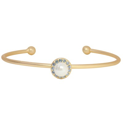 Swarovski Crystal Pearl Halo Bangle Bracelet - 14K Gold