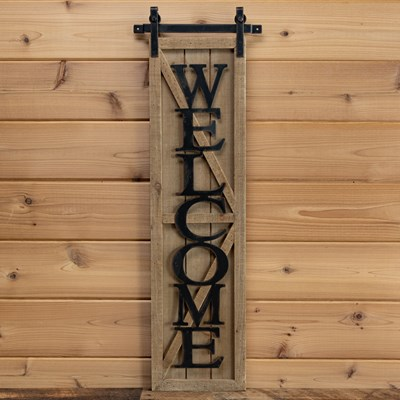 """Welcome"" Barn Door Wall Sign"