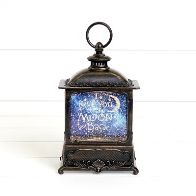 Moon and Back Glitter Globe Lantern
