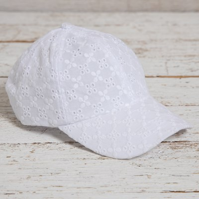 White Eyelet Baseball Hat