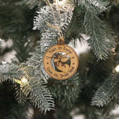 Peace On Earth Round Alder Ornament