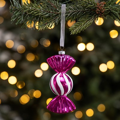 Shiny Pink Wrapped Candy Ornament