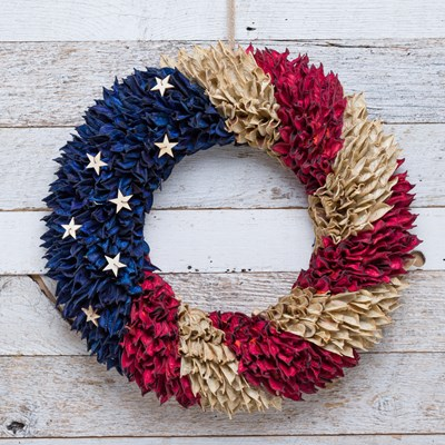 Patriotic Cotton Shell Wreath