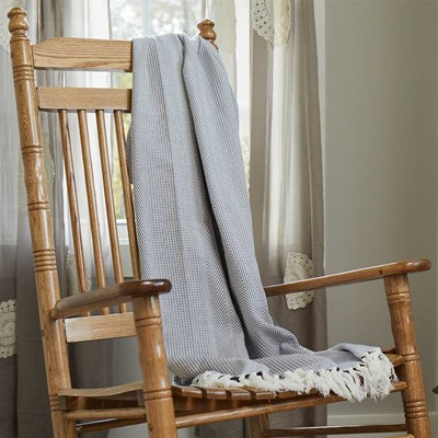 Cotton Woven Jacquard Throw - Blue
