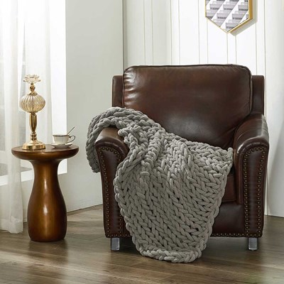 Chenille Knitted Throw - Dove