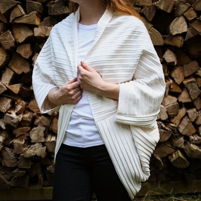 White Pleated Cocoon Fleece Poncho