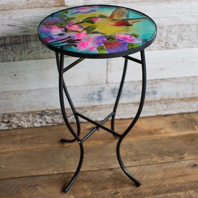 Glass Hummingbird Side Table