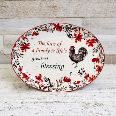 Stoneware Rooster Oval Platter