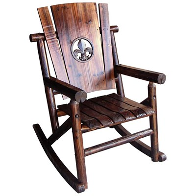 Char-Log Wooden Fleur-de-lis Medallion Rocker