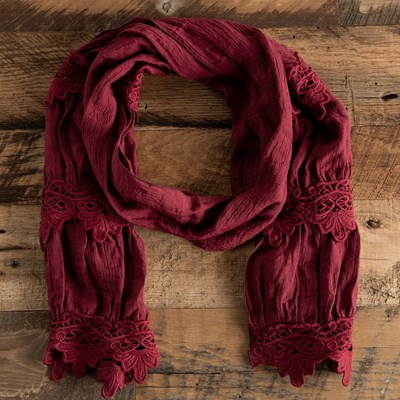Wine Lace Scarf